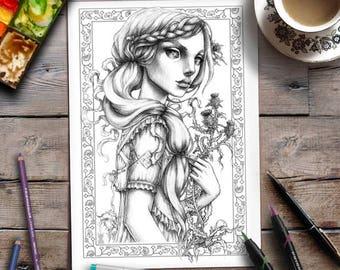 Afdrukbare volwassen kleurplaat   Grijswaarden kleuren   Vrouw   Bloemen