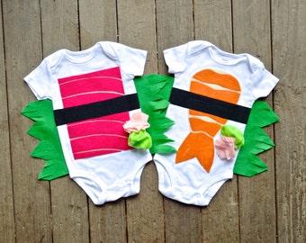 Twin Sushi Costume, Family Costume, Group, Shrimp AND Tuna Costumes, Kids Costume, Funny Halloween Costume, Group Costume, Twin Gift, Food