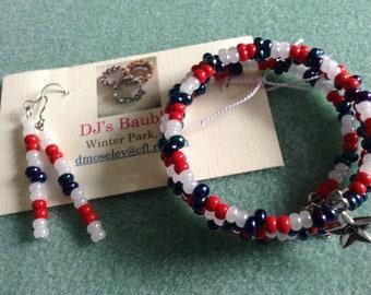 Beaded Wrap Bracelet & matching earrings