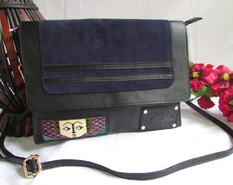 Black Evening clutch, Purple suede clutch, Leather evening clutch, leather side bag, soft leather clutch, women's Evening bag, black clutch