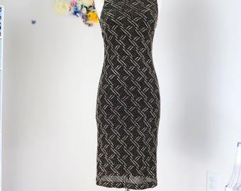 1990s Dress - Lurex Fitted Body Con Sheath Dress - Metallic Gold & Black - Sleeveless Geometric Print - Evening Vintage Dress - Small/Medium