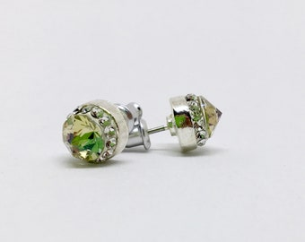 Swarovski Crystal Luminous Green Stud Post Earrings with Halo Channel Setting