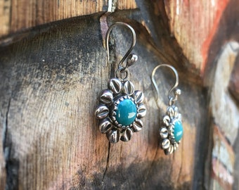 Small Earrings Silver and Turquoise Flower Earrings, Bohemian Jewelry, Birthday Gift for Daughter Gardener, Pierced Earrings Gift Under 40