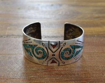 Sterling Silver Cuff Bracelet with Chip Inlay Turquoises and Coral