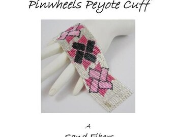 3 for 2 Program - Guns and Roses Pinwheels Peyote Cuff - For Personal Use Only PDF Pattern