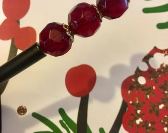 Burgundy Wine Red Beaded Hair Stick