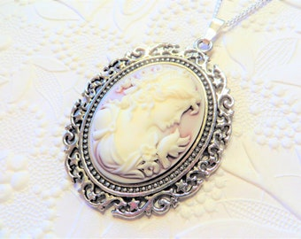 Sale - Cameo on a chain, cameo necklace, 40x30mm cameo, Roman Woman, silver setting with stars, pale pink cameo, on sale, Christmas gift