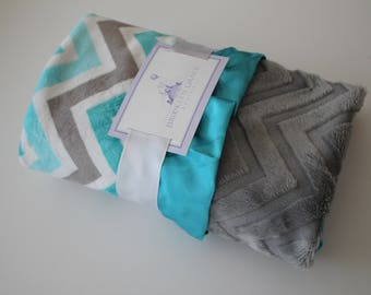 Aqua, Teal, Gray and White Chevron with Embossed Chevron Minky on Reverse, Coordinating Teal Satin Trim - Baby Shower, Nursery