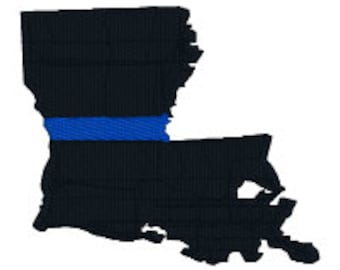 """BUY2GET1FREE - 2"""", 3"""", 4"""", 5"""" Machine Embroidery Design - Louisiana Thin Blue Line Police Officer Support - Blue Lives Matter"""
