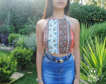 Handmade 'Endless Summer' Backless Halter Crop Top