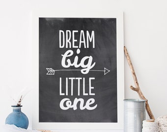 Nursery Printable, Dream Big Little One, 8x10 Nursery Art, Chalkboard Nursery Decor, Instant Download, Black and White DBLO
