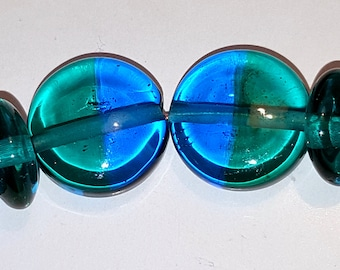 Blue & Green Handmade Lampwork beads