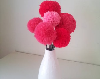 Flower Bouquet Fake Flowers Baby Nursery Decor Table Centerpiece Yarn Pom Poms Nursery Art Home Decor Pom Pom Flowers