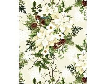 Winter Twist - Per Yard - In the beginning Fabrics by Jason Yenter - Bouquets on White