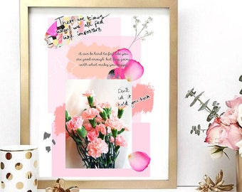 Pink Floral Collage Print | Art |