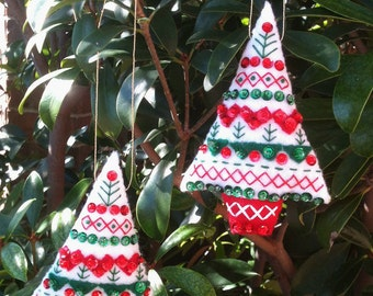 Finished Completed Felt Ornaments, Tree pair, Bucilla Nordic Santa XMAS, Christmas embroidery