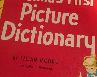 Vintage A Child's Picture Dictionary Book By Lilian Moore 1948 Sale