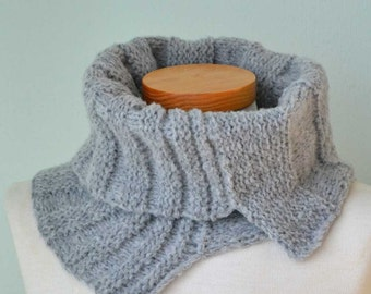 SALE, HALF PRICE,  Grey knitted cowl asymmetrical striped pattern  G638