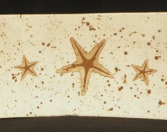 Platter. Starfish. Rectangular Platter. Sea Star. Handmade by Sara Hunter Designs.