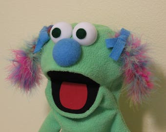 Light Green Girl Puppet with Multicolored Pigtails