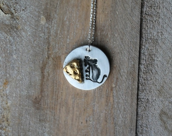 Mouse and cheese oxidized fine silver pendant