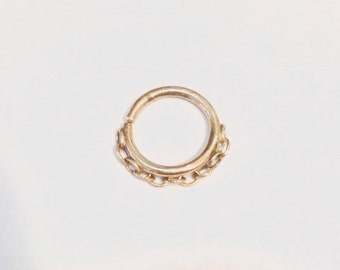 Double chain septum - 14K solid gold