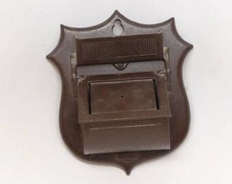 Vintage Match Holder - Cast Aluminum Match Holder - Match Holder - Match Safe - Antique Match Holder Shield Match Holder