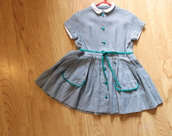 1950's kids Vintage! Gingham Green checked dress
