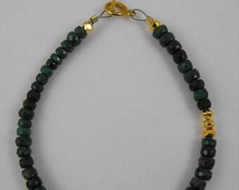 Mothers Day Sale Natural Emerald 14 Kt Gold Filled Stackable Bracelet