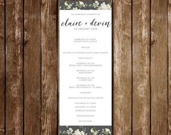 Vintage Floral Wedding Program