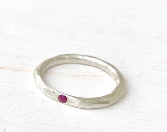 Solitaire silver ring with ruby, gypsy setting ruby ring, faceted silver ring, thick silver band, ruby ring