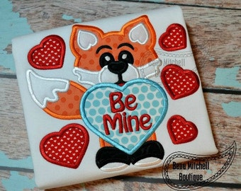 Fox be mine boy applique
