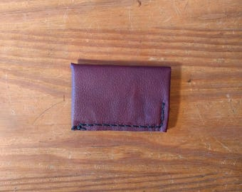 Minimal Leather Wallet, Handmade in Texas with Recycled Leather, Dark Red