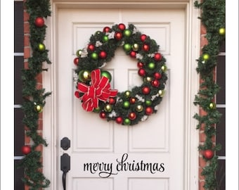 Merry Christmas Decal Door Decal Porch Decor Vinyl Decal Holiday Decal Vinyl Door Decal Merry Christmas Decor Wall Decal Curb Appeal Decal