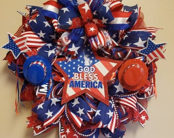 Fourth of July wreath, patriotic wreath, red white and blue wreath, summer wreath