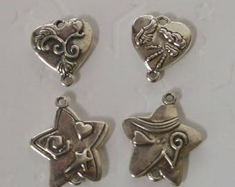 DISCONTINUED *** Two Sided Sterling Silver Star or Heart Charm or Link