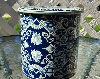 ON SALE - Vintage Delft Tin Metal Blue and White Dutch Canister Storage Tea - Made in Holland