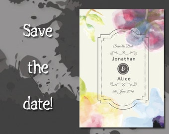 Wedding Save The Date, Printable PDF, Getting Married, Watercolor Flowers!