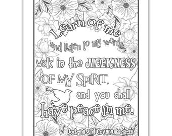 """2018 Mutual Theme Coloring Page 8.5""""x11"""" - Floral learn of me listen to my words have peace in me"""