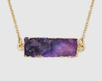 Gold Plated 25mm Rectangle Natural Purple Druzy Necklace