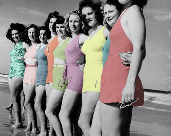 Modern Art: Color Line Bathing Beauties Poster