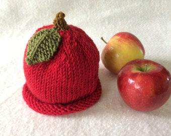 Knit baby hat, baby beanie, newborn cap, knit newborn hat, baby apple hat, baby fruit hat, baby fruit beanie, knit fruit cap, knitted cap