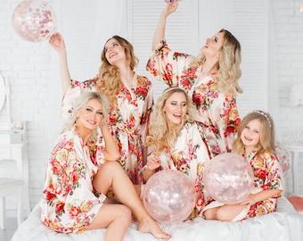 8 Bridesmaid Robes, Bridesmaid Gift, Set of 8 Satin Bridesmaids Robes, Bridal Party Robes, Wedding Robe, Floral Bridesmaids Robe