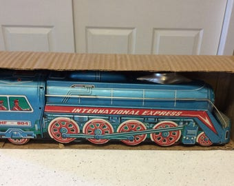 Vintage International Express  Large Scale Friction Tin Metal Locomotive MF-804,  Includes Original Box