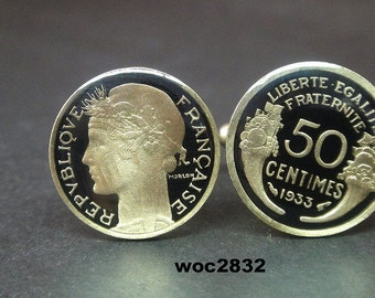 1932 France coin cufflinks  50 centmes 20mm