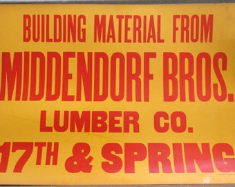 30 x 21 Middendorf Bros Lumber Vintage Advertising Sign Quincy Illinois b, Vintage Sign, Man Cave, Wall Art