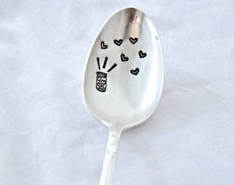 Mason Jar of Hearts - Hand Stamped - Vintage Friendship Gift - mason jar of hearts - personalize