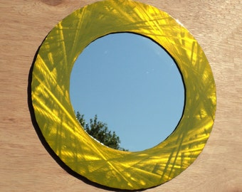 Yellow and Chartreuse Accent Wall Mirror