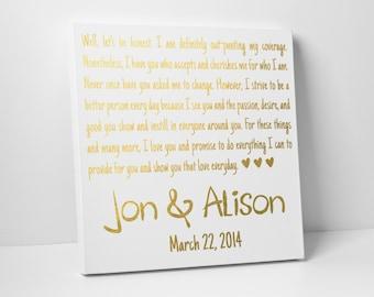 Wedding Vow Art, Gold Foil