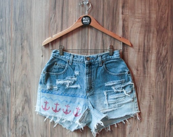 High waist vintage denim shorts Size 4 | Ripped distressed shorts | Nautical anchor shorts | High waisted denim hipster festival shorts |